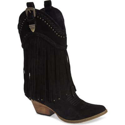 Very Volatile Anderson Fringe Western Boot, Black