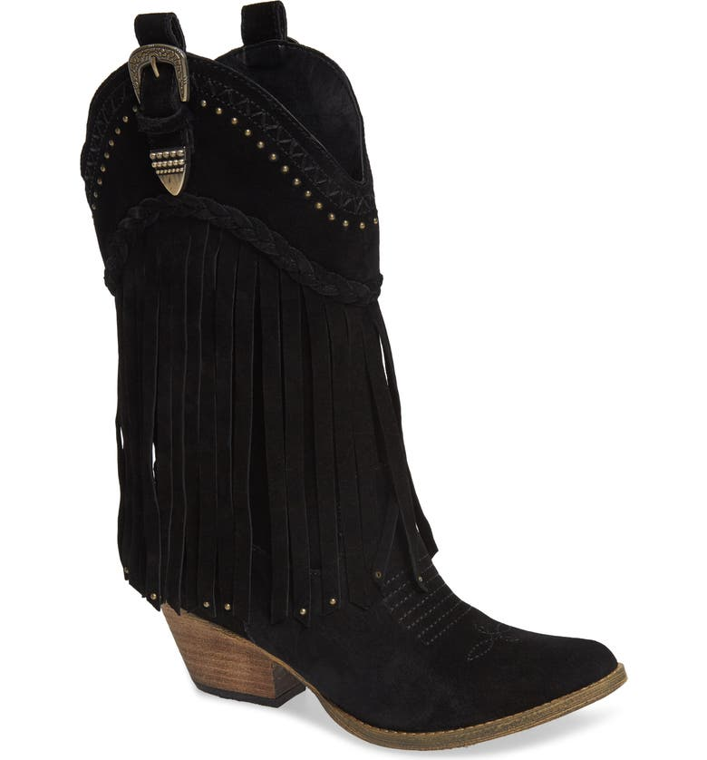 VERY VOLATILE Anderson Fringe Western Boot, Main, color, BLACK SUEDE