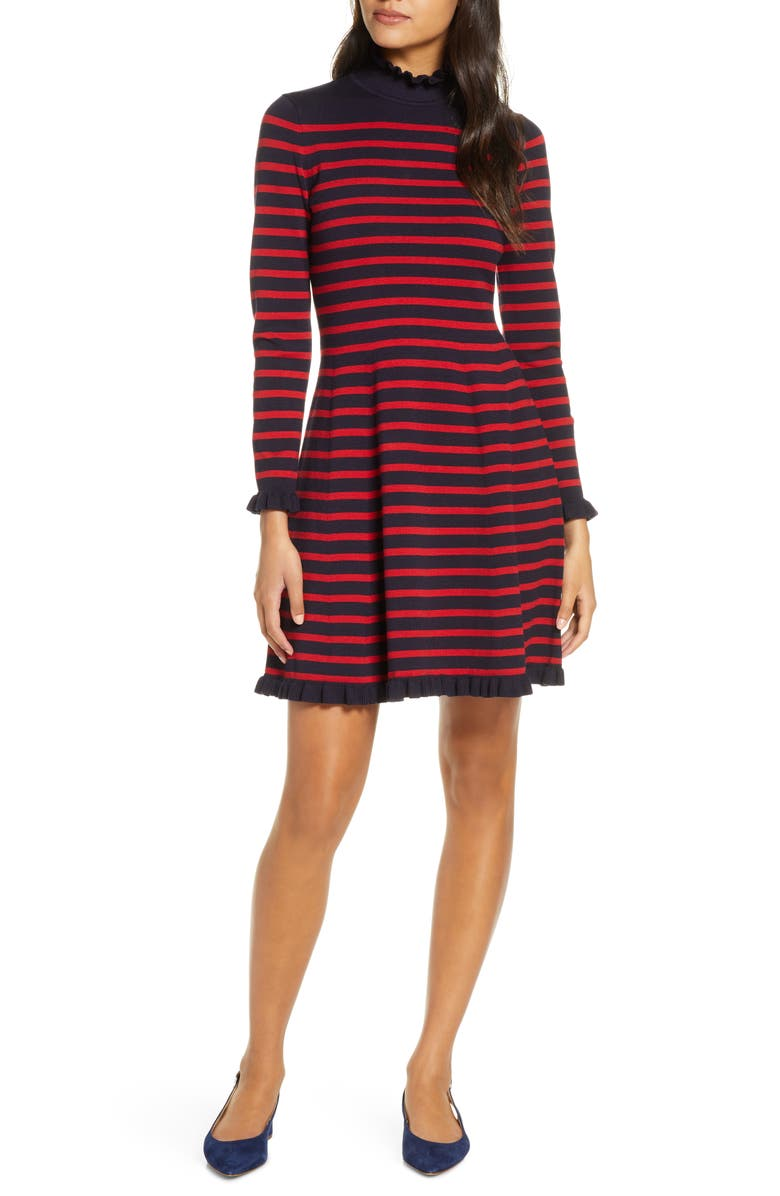 1901 Striped Sweater Sweater Dress, Main, color, NAVY RIBBON