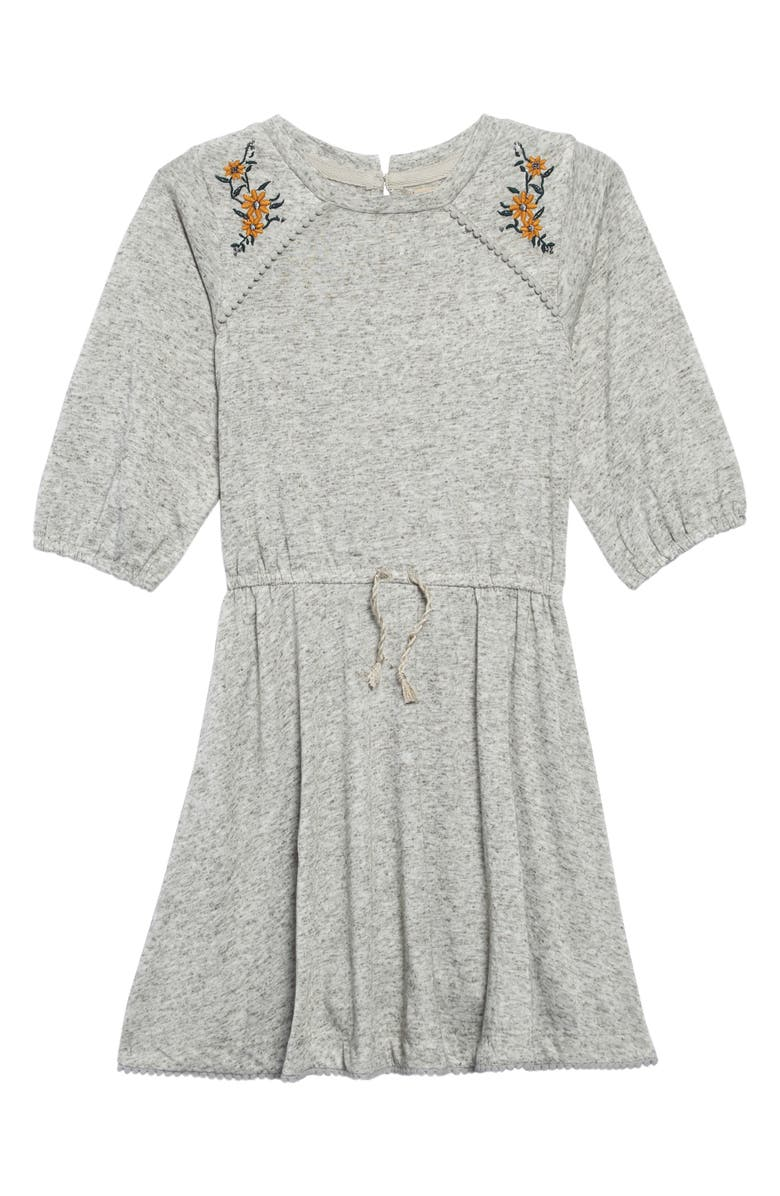PEEK AREN'T YOU CURIOUS Brenna Embroidered Dress, Main, color, HEATHER GREY