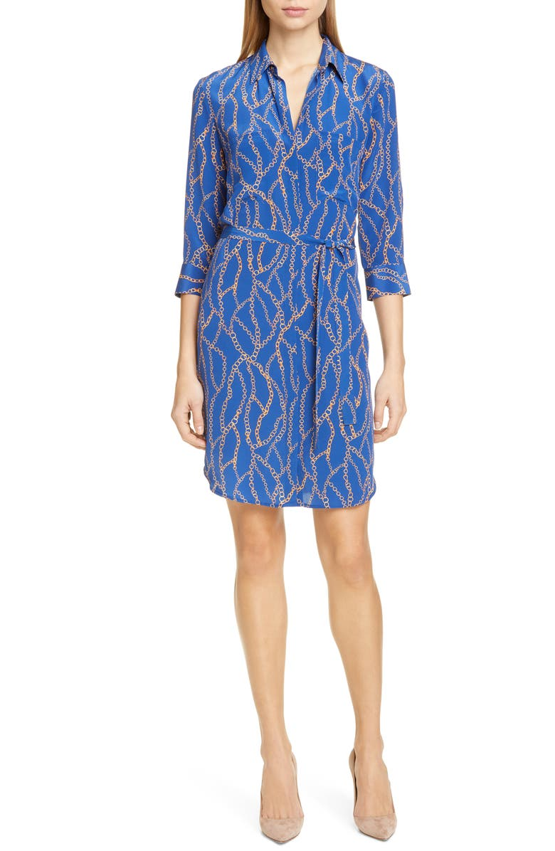 L'AGENCE Stella Chain Print Silk Shirtdress, Main, color, 400