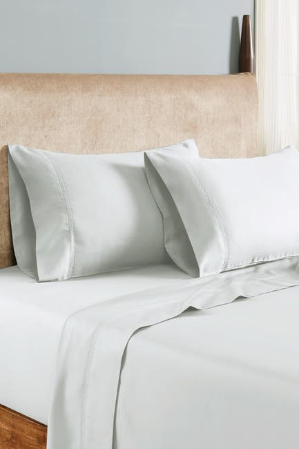 Image of Modern Threads 1000 Thread Count Tri-Blend 6-Piece Sheet Set With Double Hole Hem - White - Queen