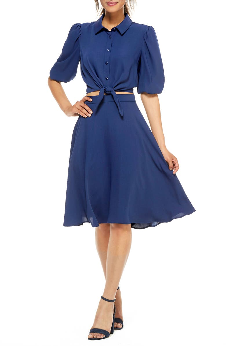 GAL MEETS GLAM COLLECTION Claudia Button Front Two-Piece Shirtdress, Main, color, MOON LAKE