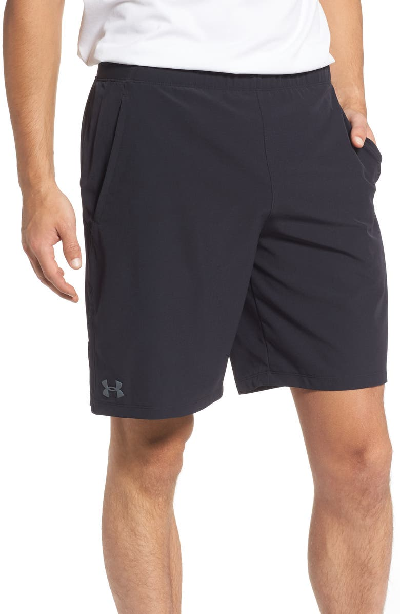 UNDER ARMOUR Vanish Snap Performance Athletic Shorts, Main, color, BLACK/ PITCH GREY