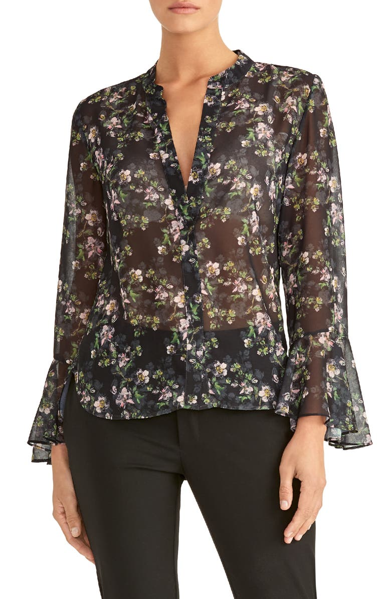 RACHEL ROY COLLECTION Floral Print Ruffle Sleeve Blouse, Main, color, BLACK COMBO