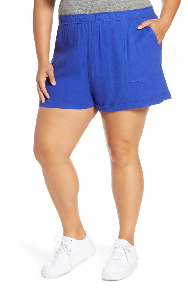 BP. Cuff Hem Linen Blend Shorts, Main, color, 420