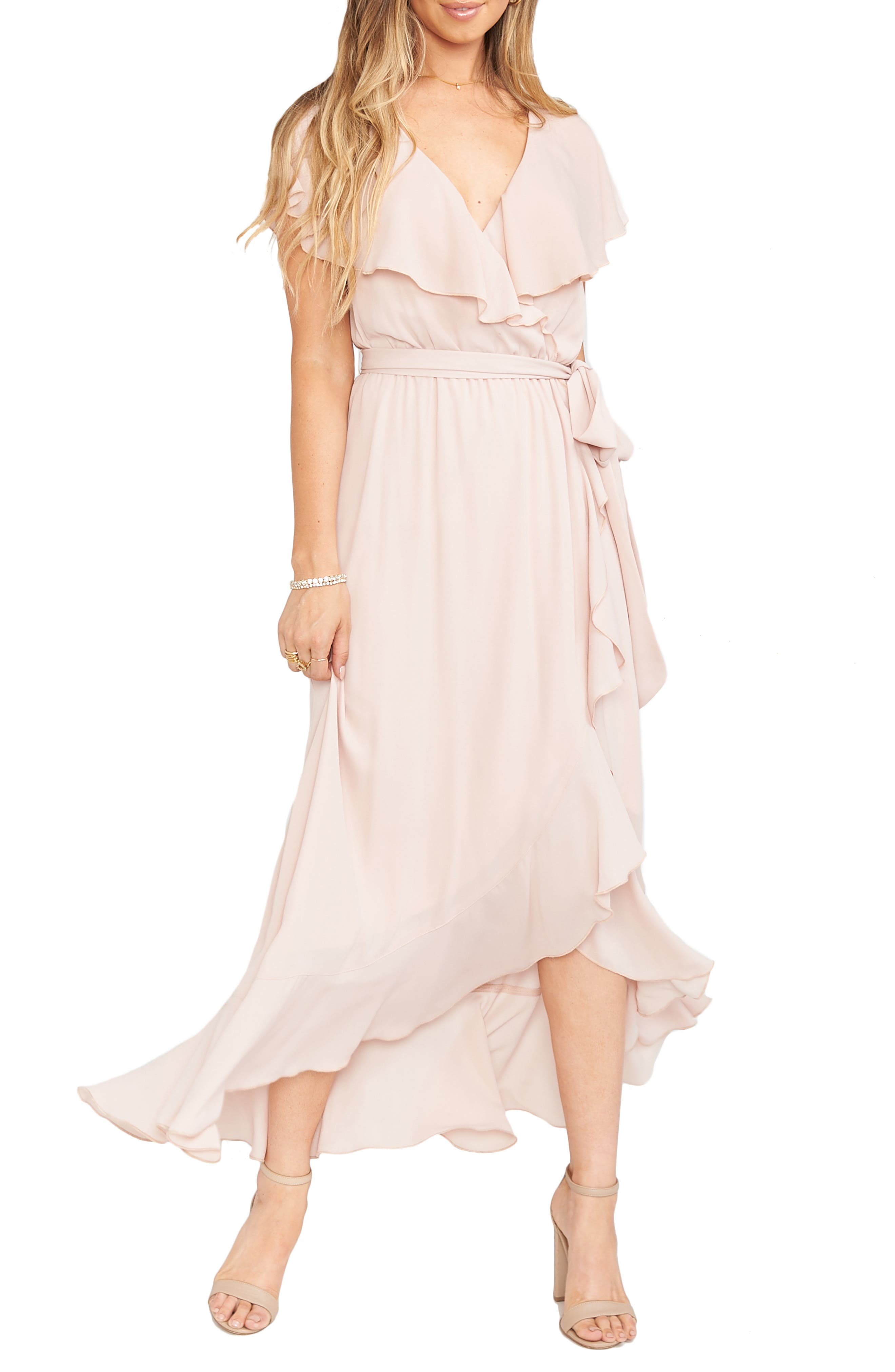 70s Dresses – Disco Dress, Hippie Dress, Wrap Dress Womens Show Me Your Mumu Jess Ruffle Maxi Dress Size XX-Large - Pink $198.00 AT vintagedancer.com