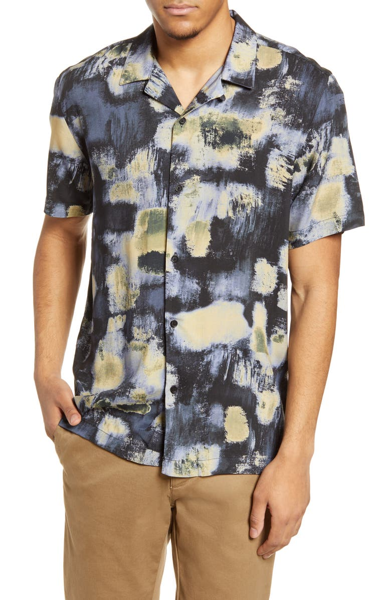 TOPMAN Abstract Button-Up Camp Shirt, Main, color, BROWN MULTI