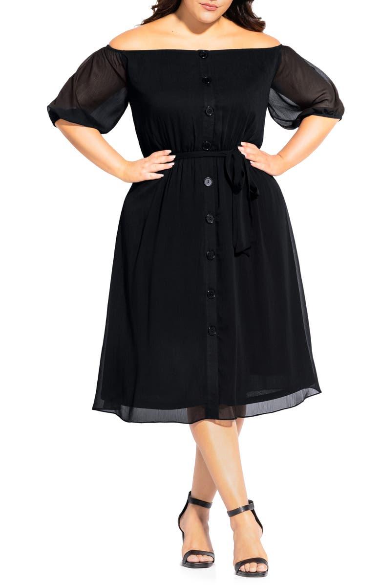 CITY CHIC Off the Shoulder Sheer Sleeve Dress, Main, color, BLACK