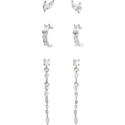Nordstrom 3-Pair Set Marquise Crystal Stud Earrings