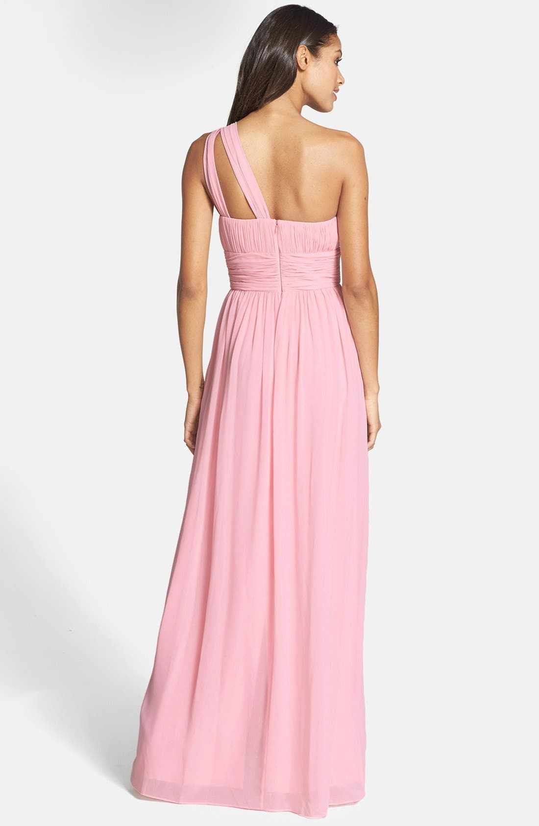 ,                             'Rachel' Ruched One-Shoulder Chiffon Gown,                             Alternate thumbnail 107, color,                             650