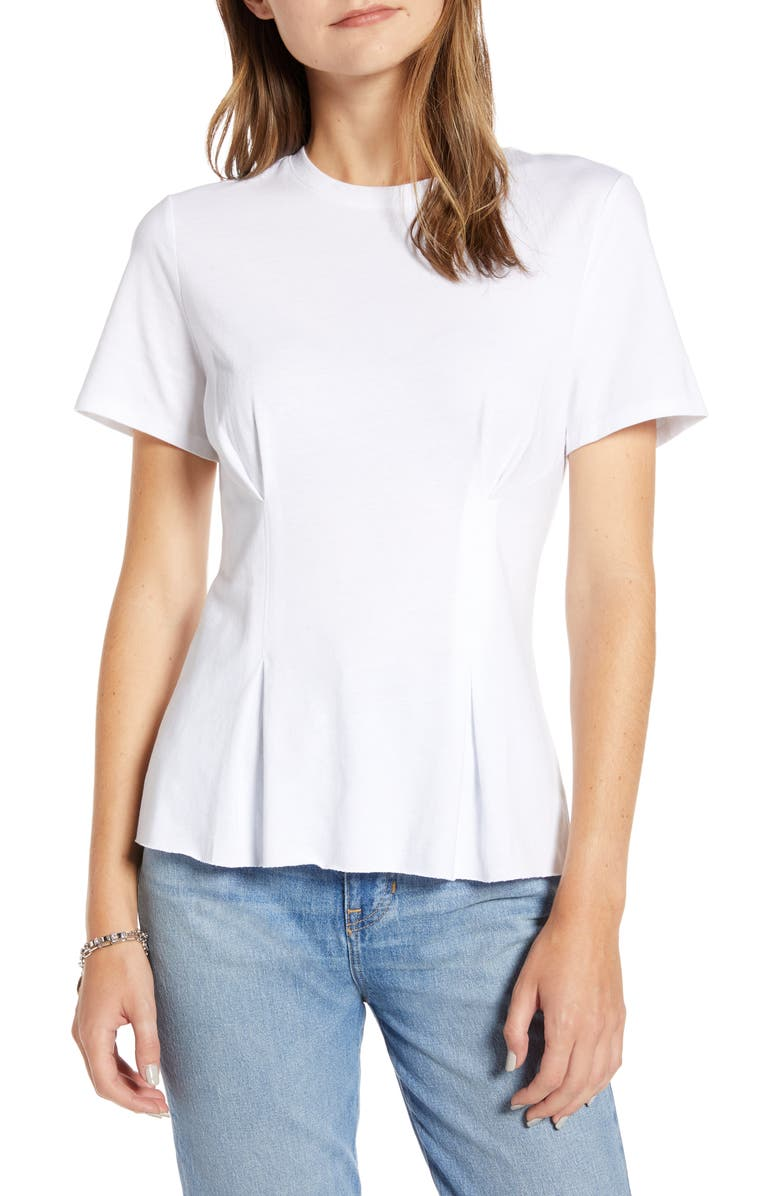 TREASURE & BOND Corset Detail T-Shirt, Main, color, WHITE