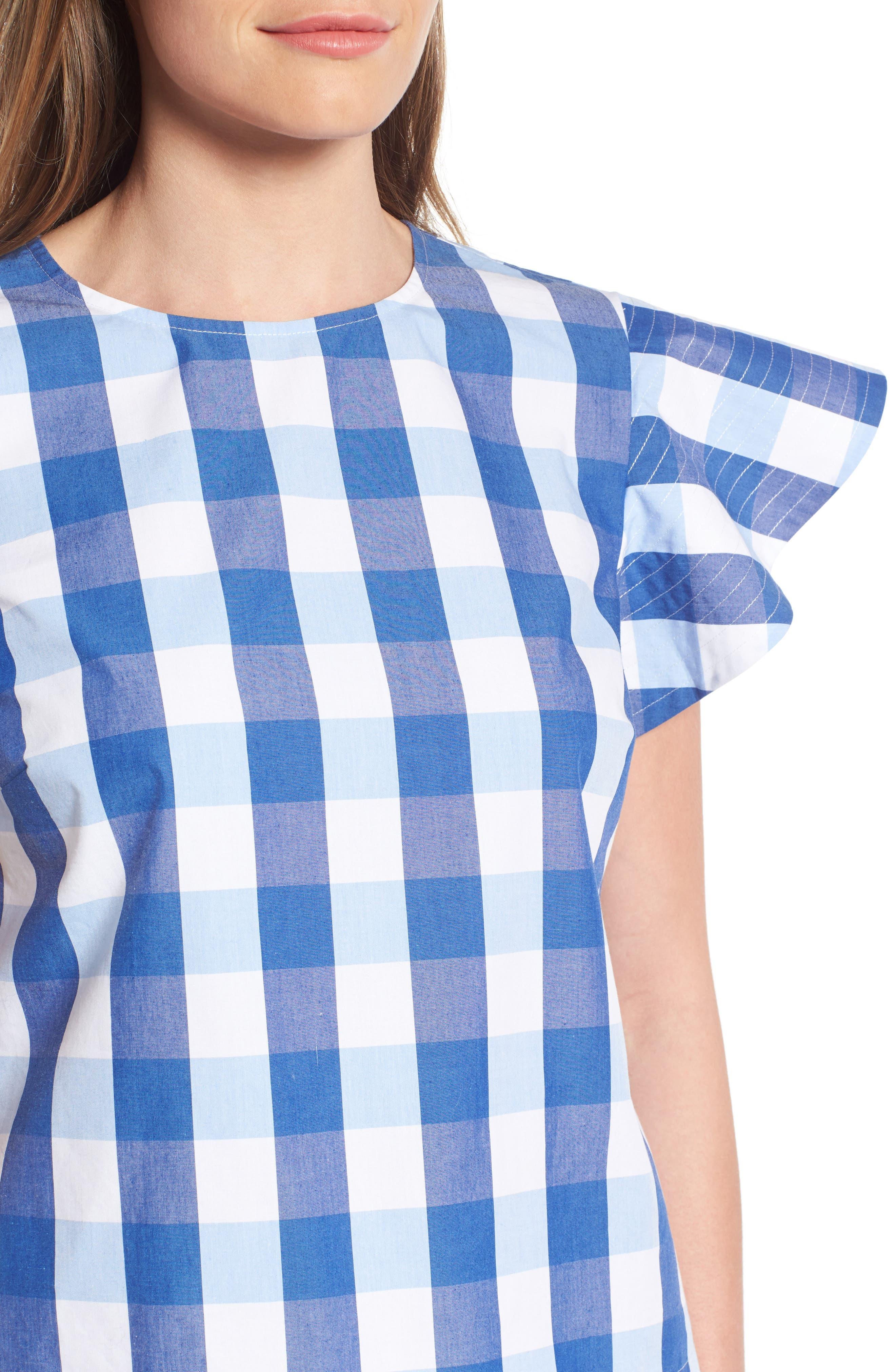 ,                             Cloister Gingham Cotton Top,                             Alternate thumbnail 4, color,                             400