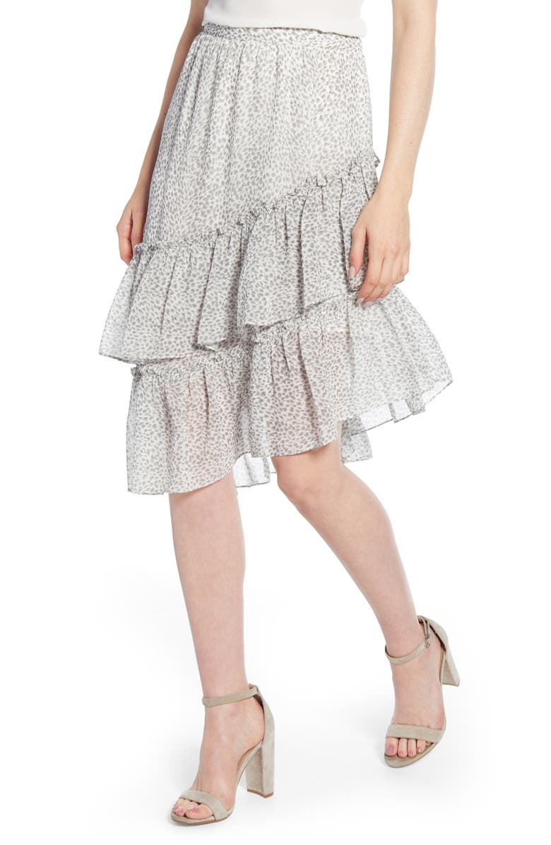 40905eb8c Tiered Asymmetrical Ruffle Midi Skirt, Main, color, NEW IVORY MULTI