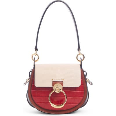 Chloe Small Tess Croc & Lizard Embossed Leather Shoulder Bag - Red