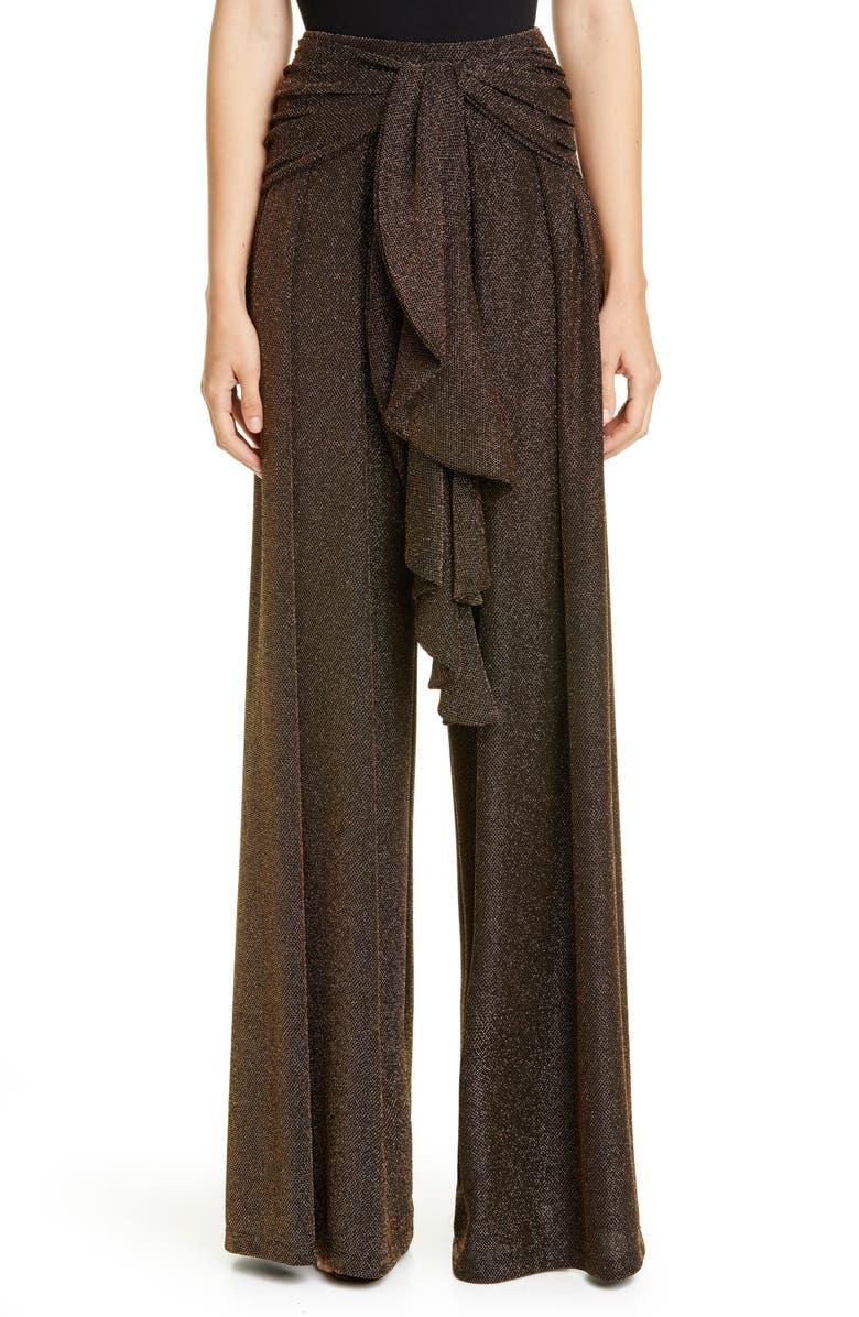 PATBO Metallic Mesh Drape Wide Leg Pants, Main, color, BRONZE