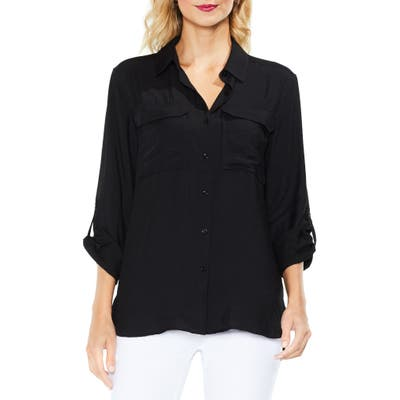 Vince Camuto Hammered Satin Utility Shirt, Black