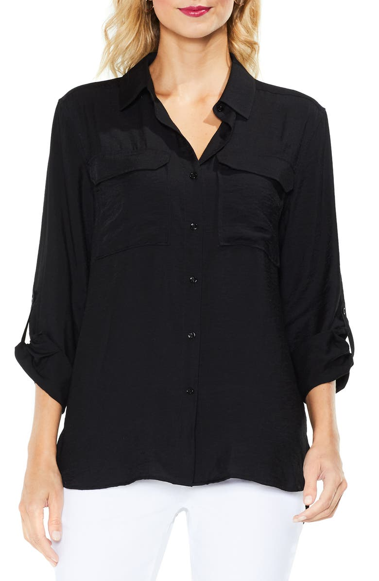 VINCE CAMUTO Hammered Satin Utility Shirt, Main, color, RICH BLACK