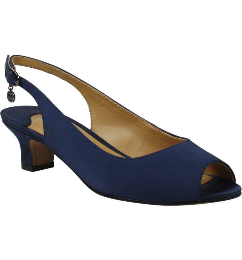 J. RENEÉ Jenvey Slingback Sandal, Main, color, NAVY SATIN