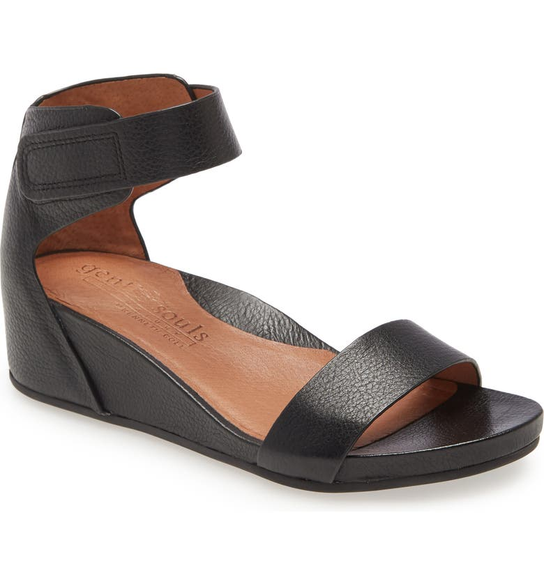 GENTLE SOULS BY KENNETH COLE Gentle Souls Signature Gianna Wedge Sandal, Main, color, NEW BLACK LEATHER