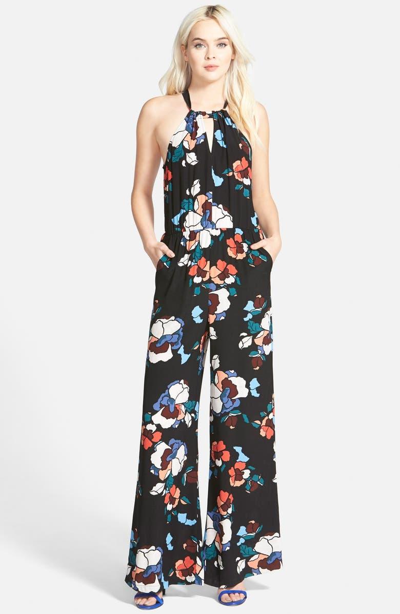 ASTR THE LABEL ASTR Floral High Neck Wide Leg Jumpsuit, Main, color, 001