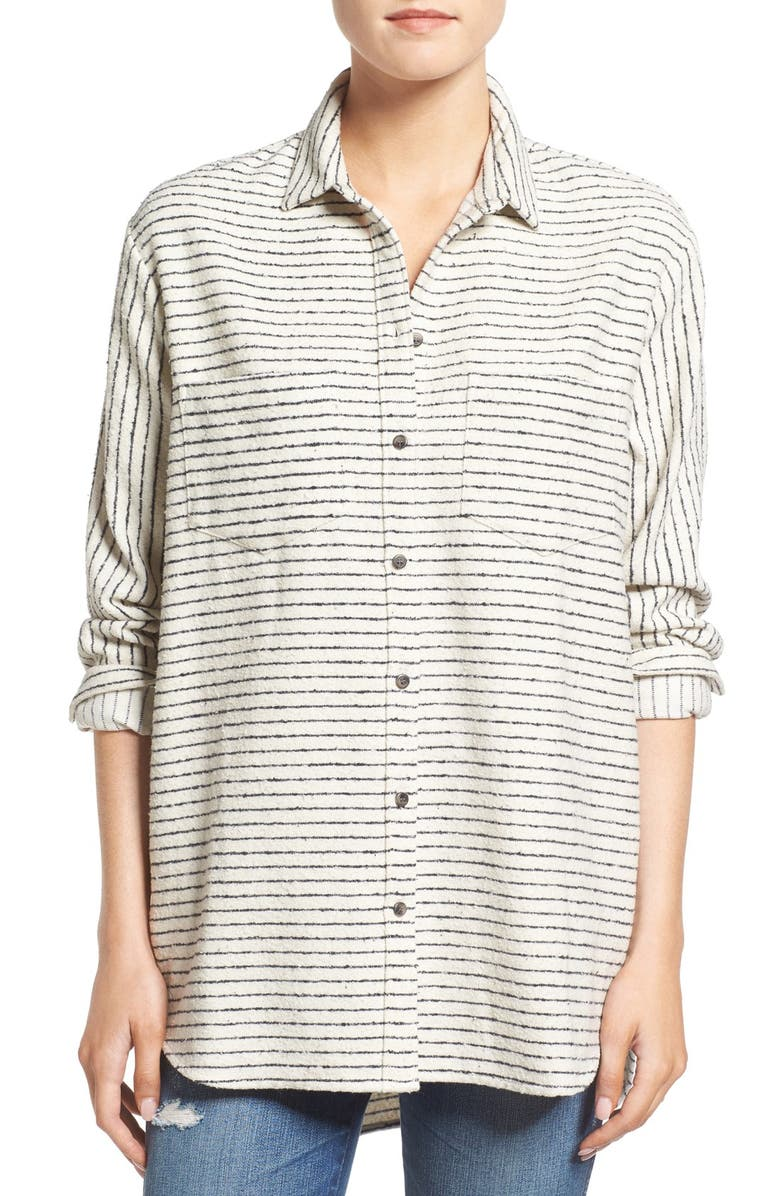 MADEWELL 'Sunday' Stripe Flannel Shirt, Main, color, 900