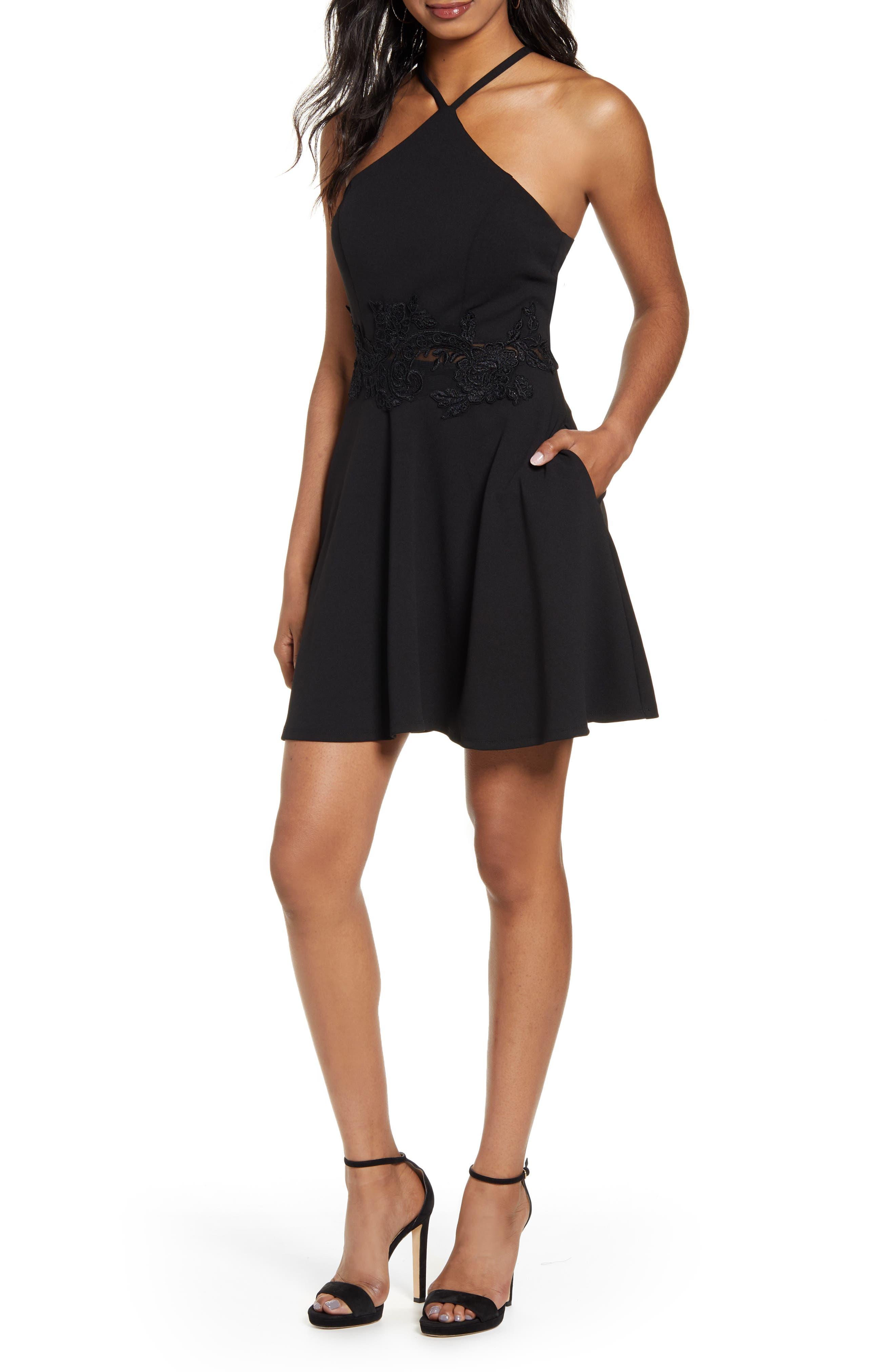 Speechless Halter Skater Dress, Black