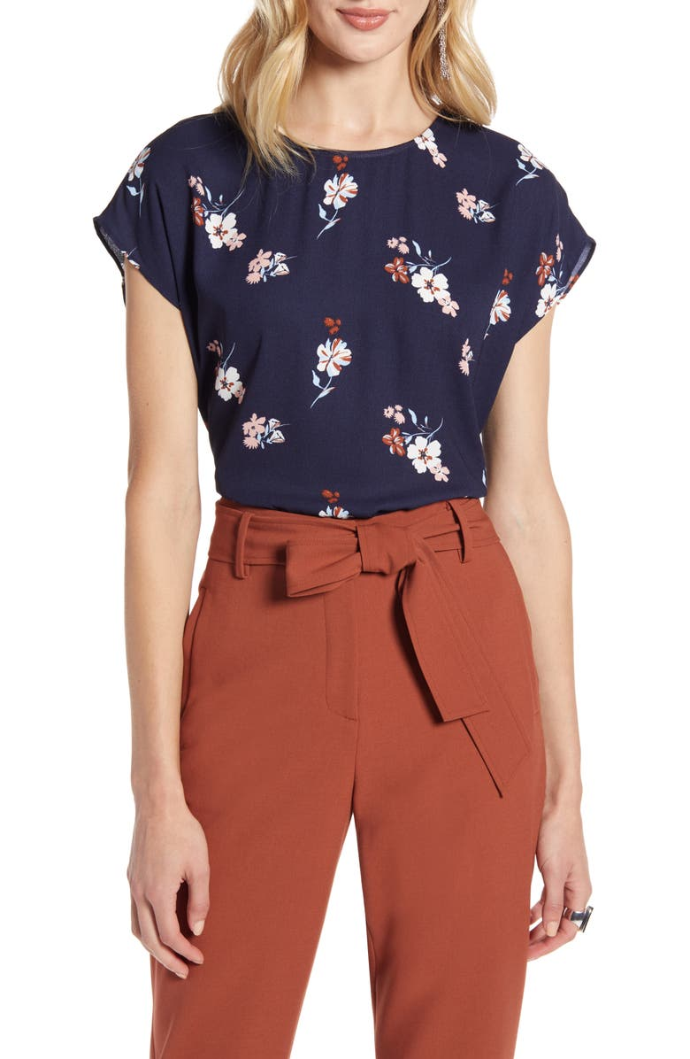 HALOGEN<SUP>®</SUP> Boxy Blouse, Main, color, NAVY- PINK FLORAL