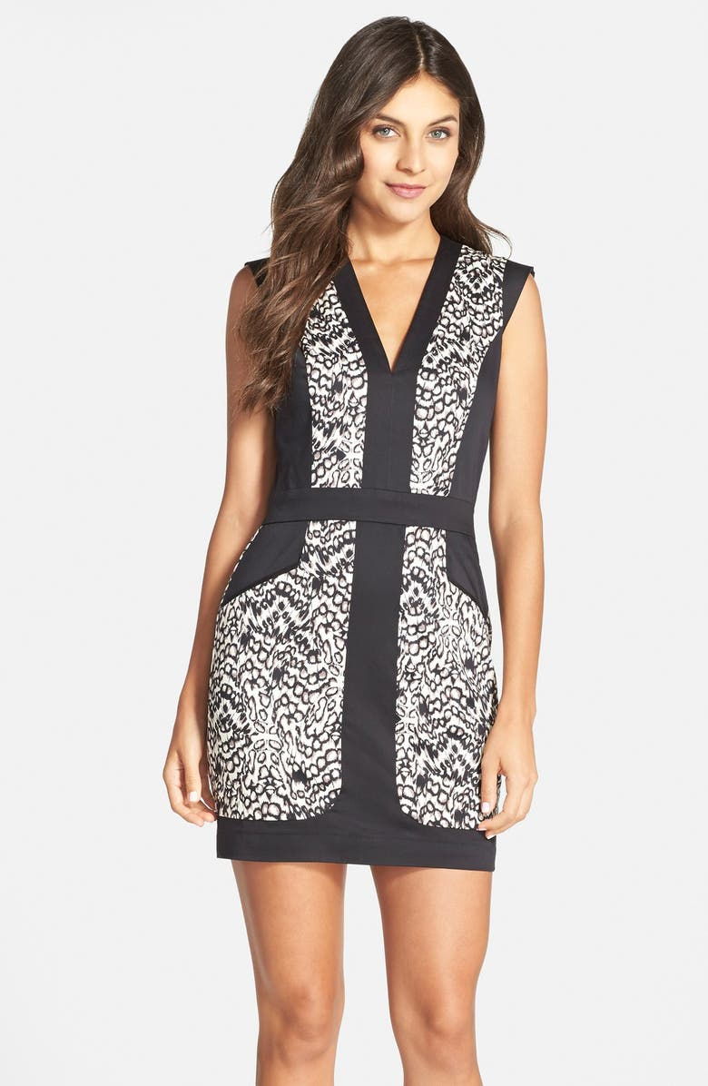 FRENCH CONNECTION Print Stretch Cotton Sheath Dress, Main, color, 001
