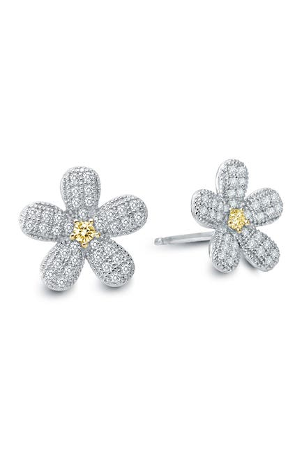 Image of LaFonn Platinum Plated Sterling Silver Micro Pave Simulated Diamond Floral Stud Earrings