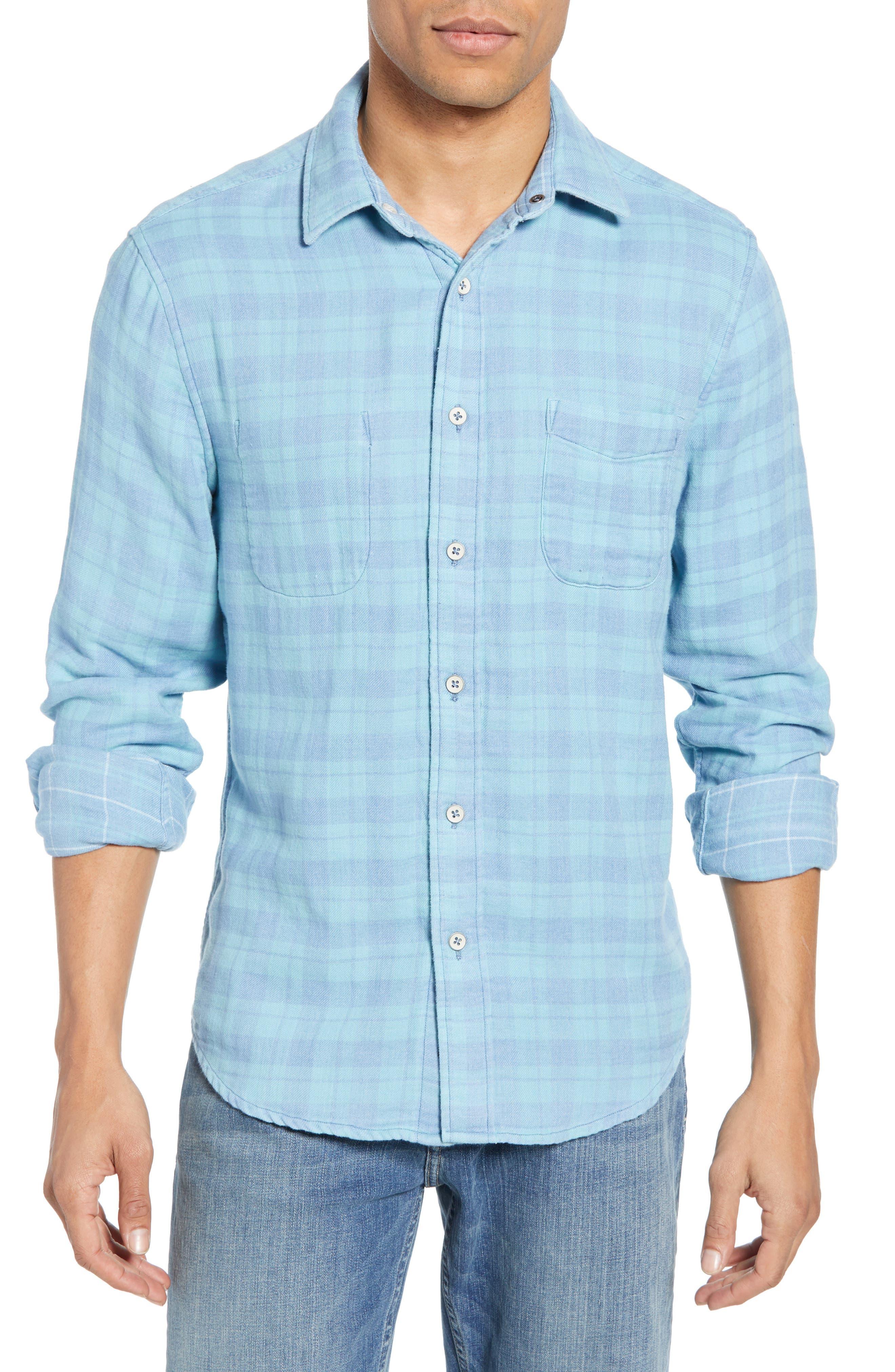 Faherty Belmar Regular Fit Reversible Cotton Sport Shirt, Blue/green
