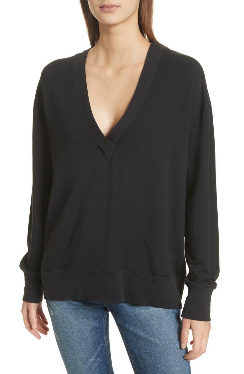 RAG & BONE Flora Sweatshirt, Main, color, BLACK