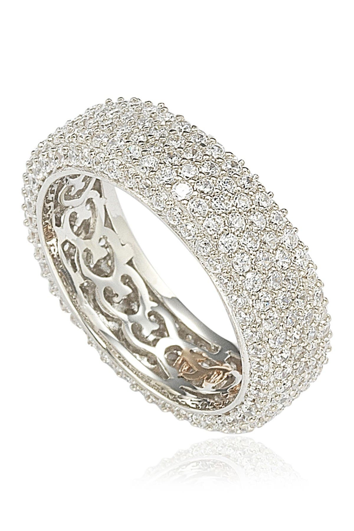Image of Suzy Levian Sterling Silver White CZ Eternity Band Ring