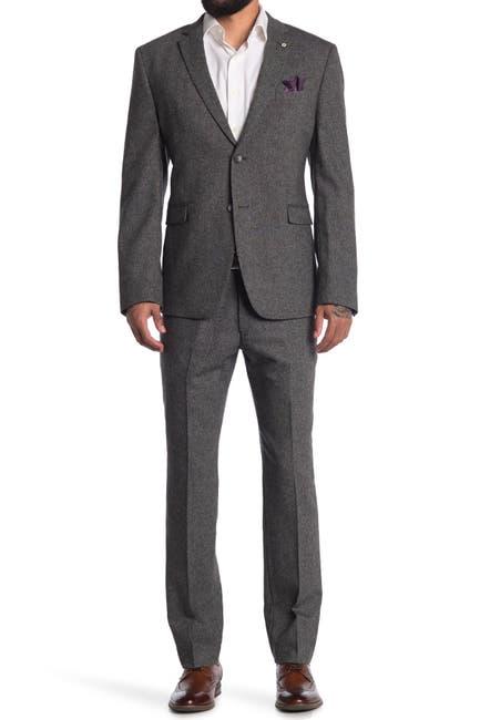 Image of Original Penguin Charcoal Solid Two Button Notch Lapel Wool Blend Suit