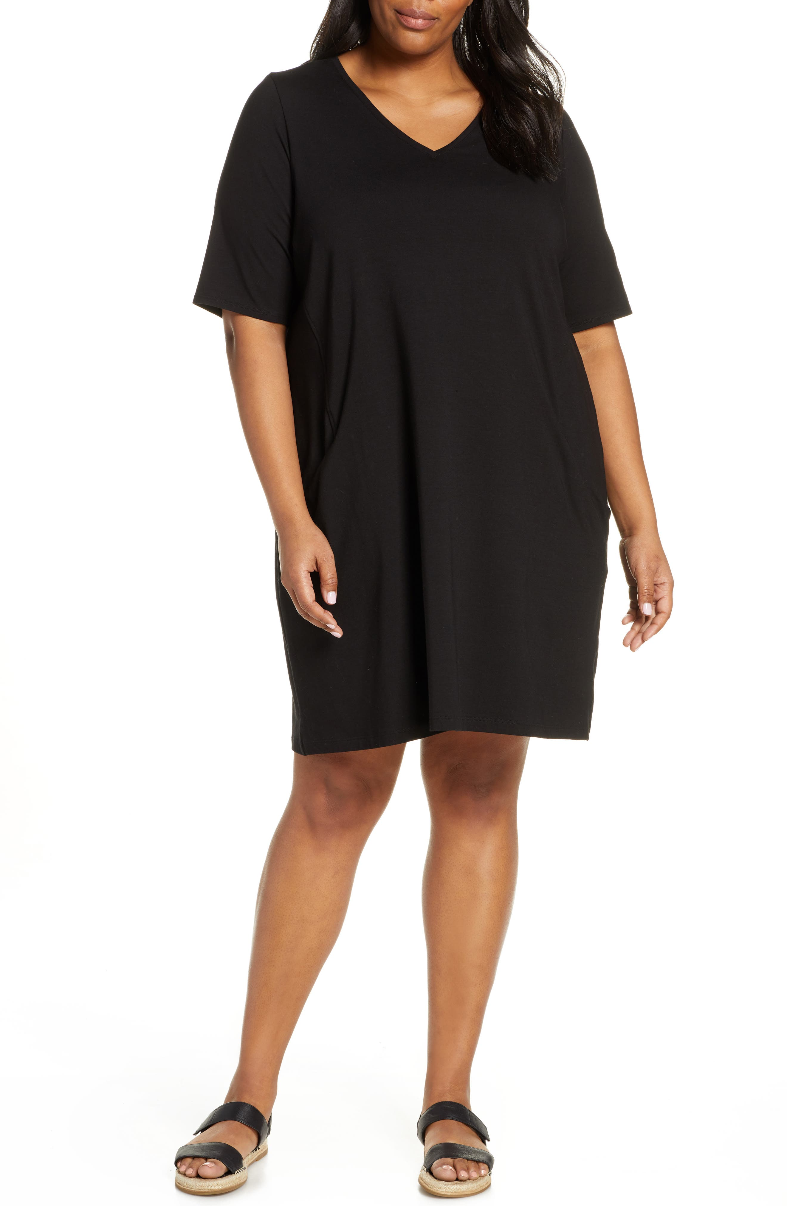 Plus Size Eileen Fisher Organic Cotton Jersey Shift Dress, Black