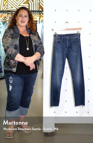 The Tomcat High Waist Fray Ankle Straight Leg Jeans, sales video thumbnail