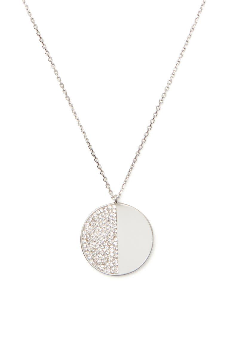 KATE SPADE NEW YORK mod scallop pavé pendant necklace, Main, color, 100