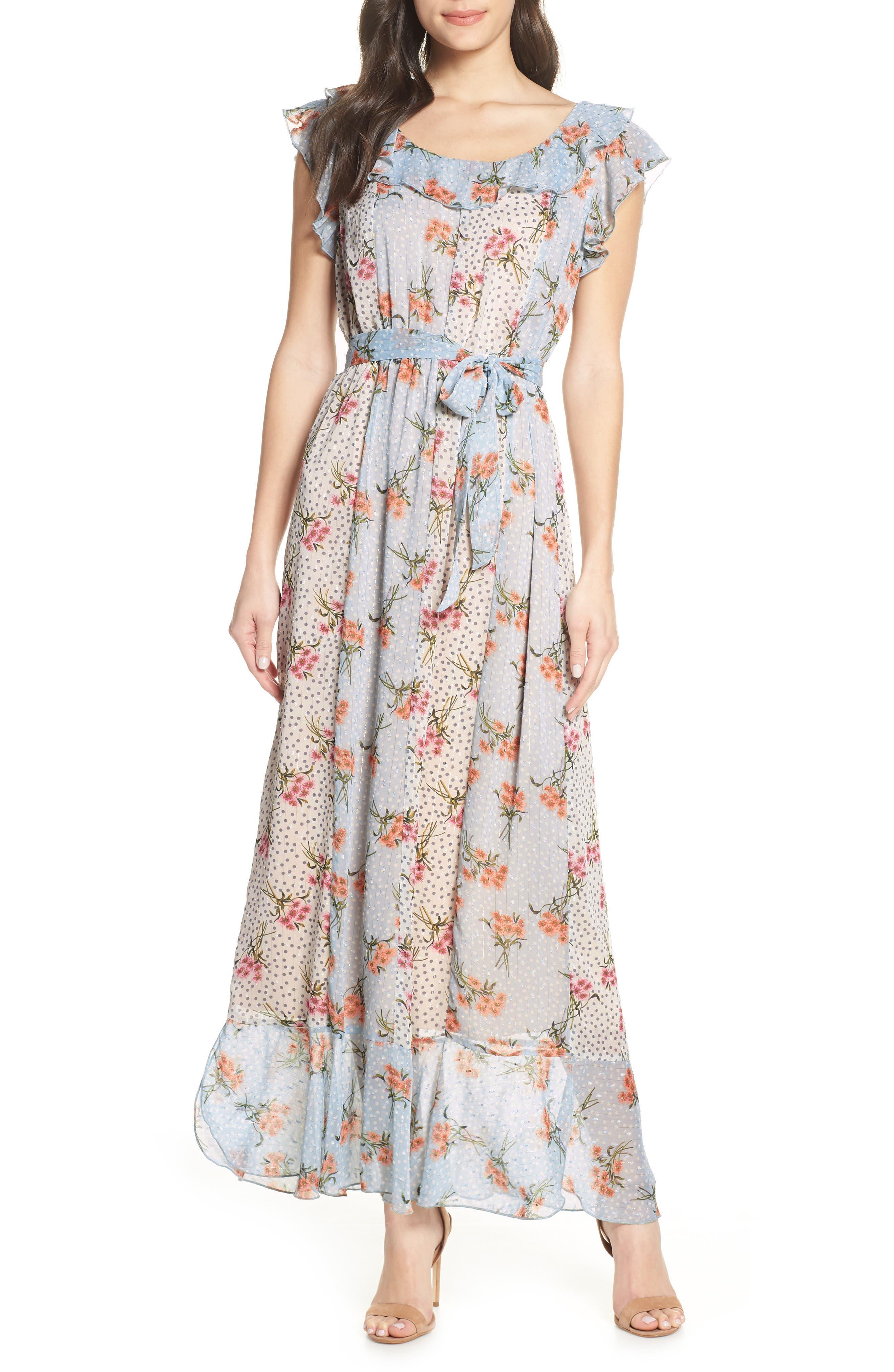 Chelsea28 Mixed Print Clip Dot Maxi Dress, Blue
