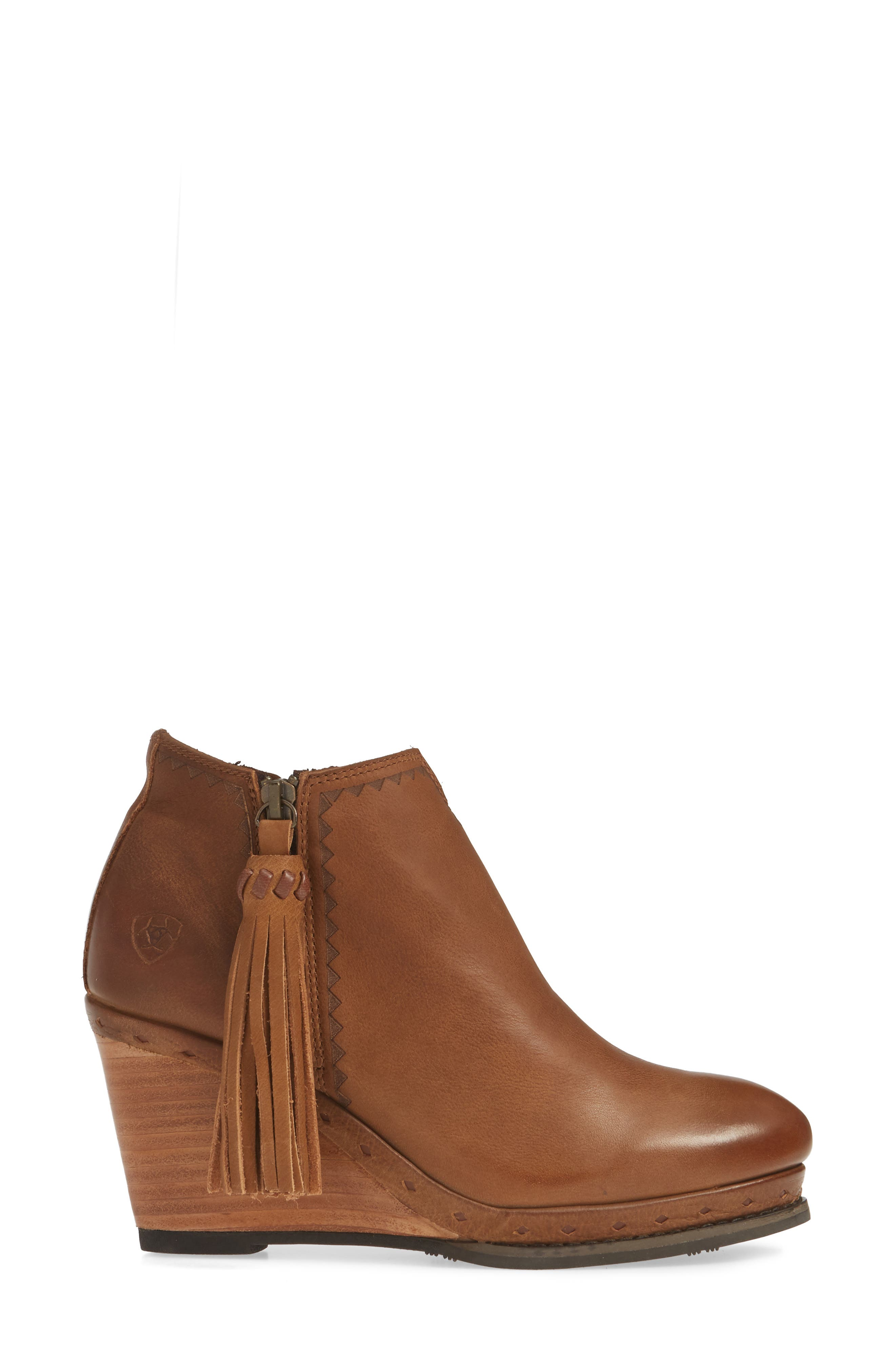,                             Graceland Wedge Bootie,                             Alternate thumbnail 3, color,                             OXFORD TAN LEATHER
