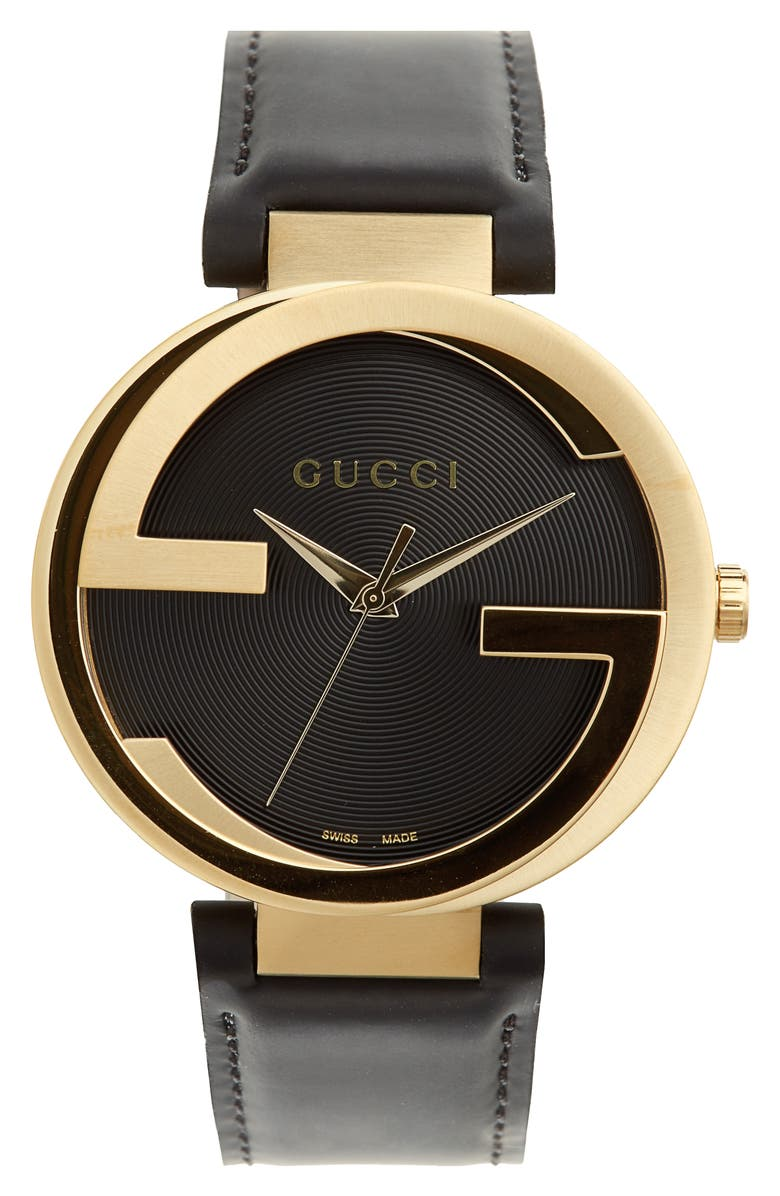 GUCCI Leather Strap Watch, 40mm, Main, color, 001