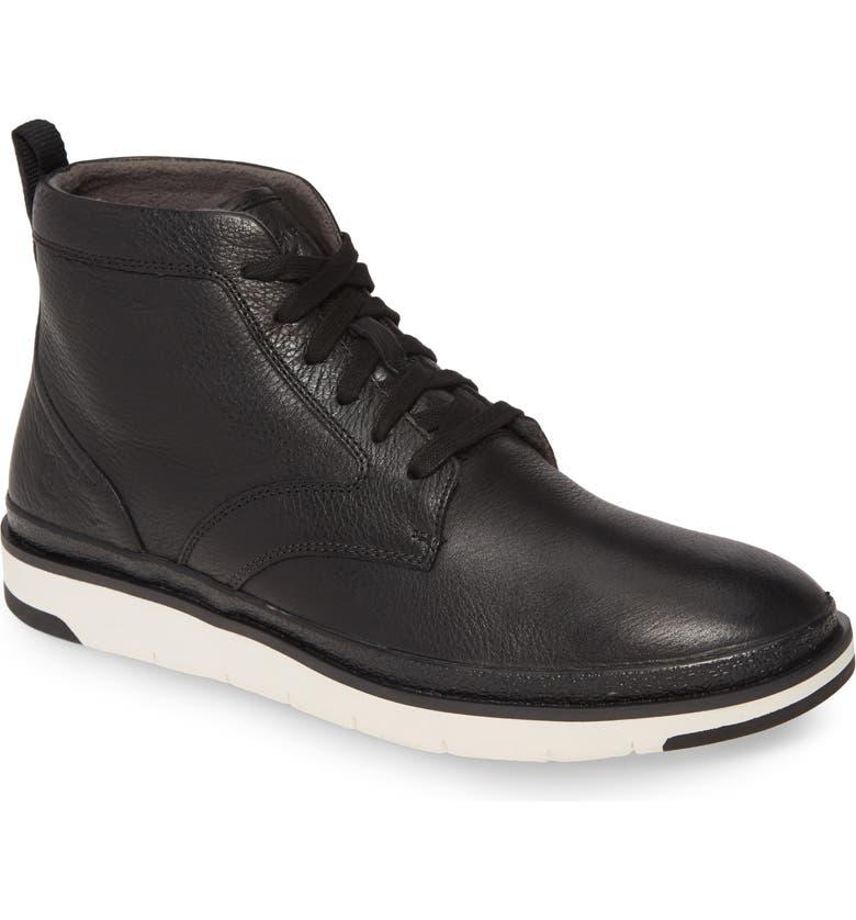 HUSH PUPPIES<SUP>®</SUP> Hush Puppies Caleb Plain Toe Boot, Main, color, BLACK LEATHER