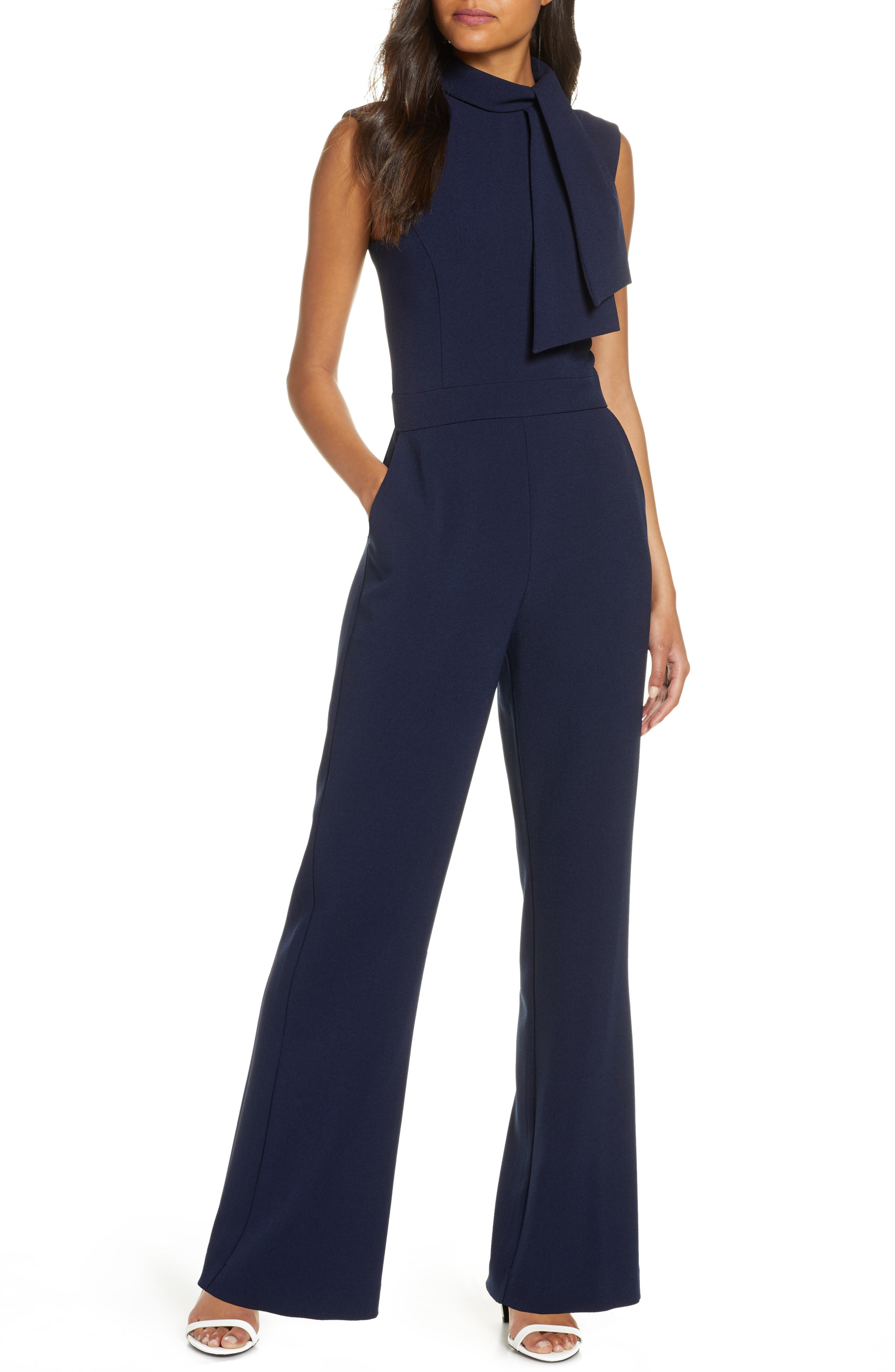 Harper Rose Scarf Neck Crepe Jumpsuit (Regular & Petite)