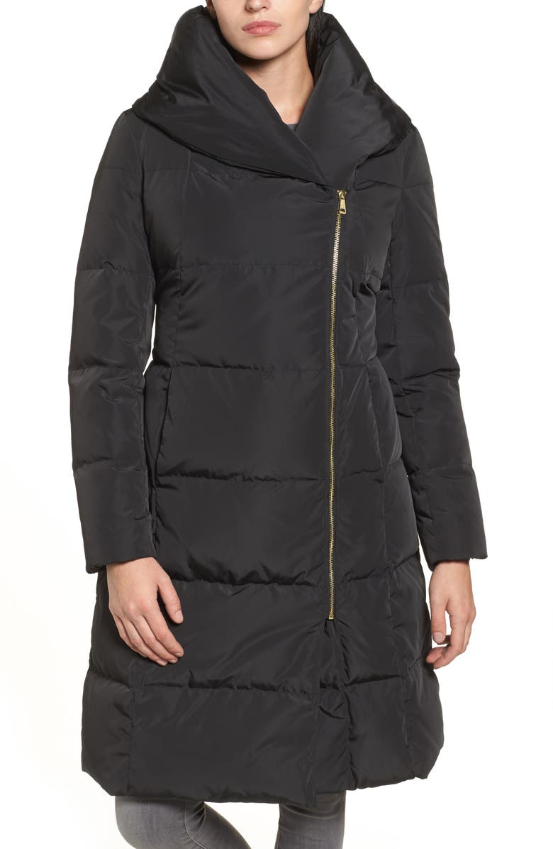COLE HAAN SIGNATURE Cole Haan Down & Feather Coat, Main, color, BLACK