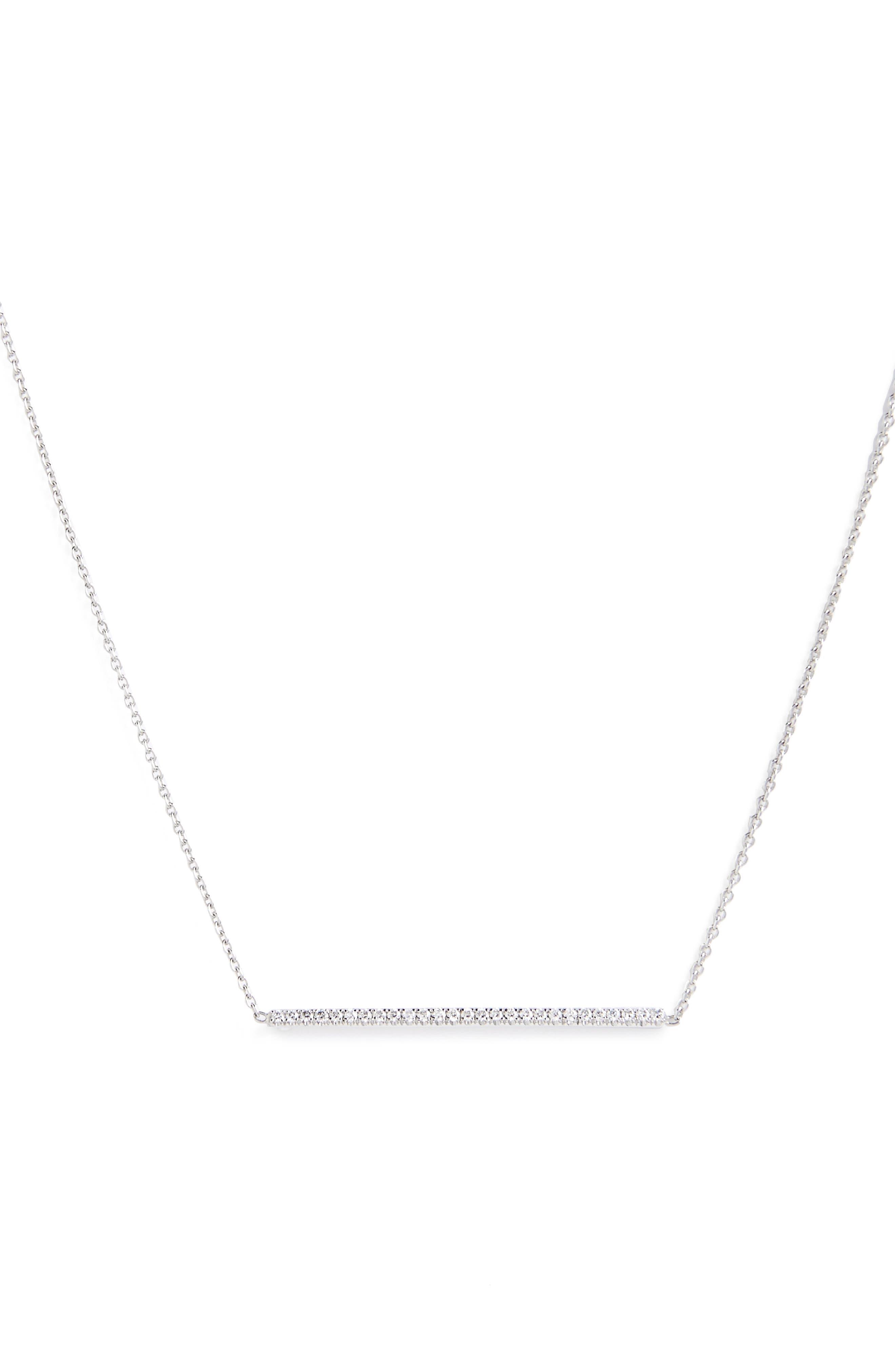 ,                             Tiny Treasures Diamond Bar Necklace,                             Main thumbnail 1, color,                             WHITE GOLD