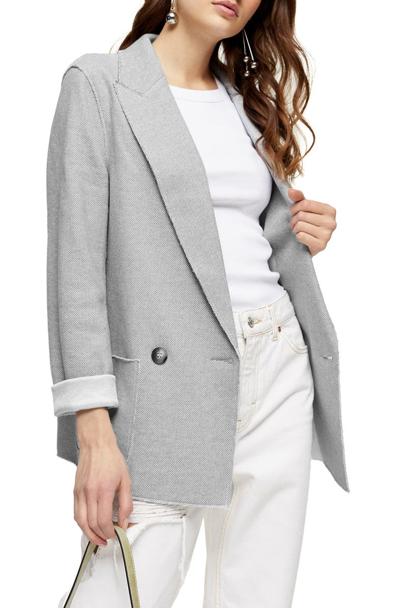 TOPSHOP Raw Edge Double Knit Blazer, Main, color, GREY