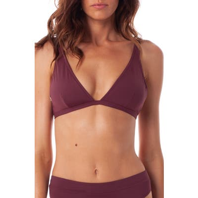 Rhythm Islander Triangle Bikini Top, Burgundy