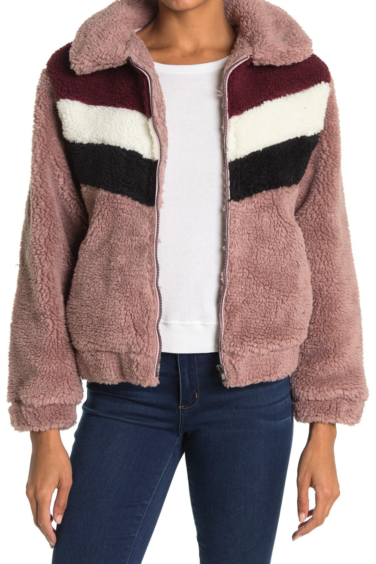 Image of Lush Teddy Colorblock Faux Fur Zip Jacket