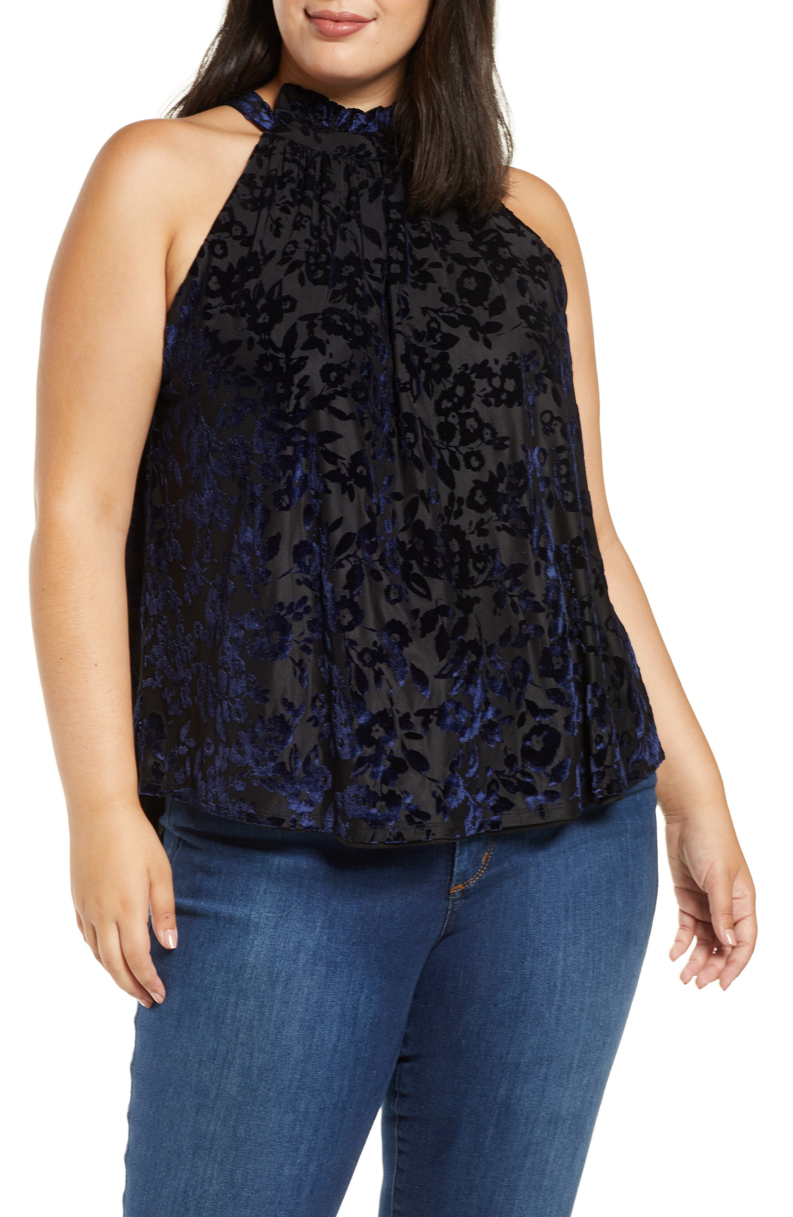 Plus Size Women's Gibson X Glam The Motherchic Date Night Floral Flocked Velvet Halter Top