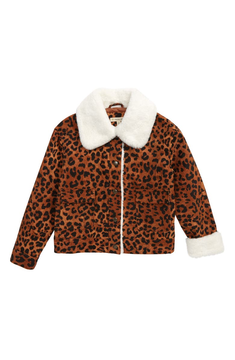 TUCKER + TATE Leopard Print Corduroy Jacket with Faux Fur Trim, Main, color, TAN CASHEW LEOPARD