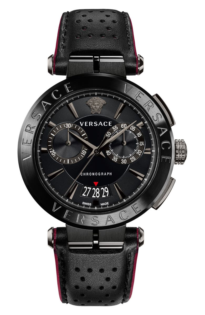 VERSACE Aion Chronograph Leather Strap Watch, 45mm, Main, color, BLACK